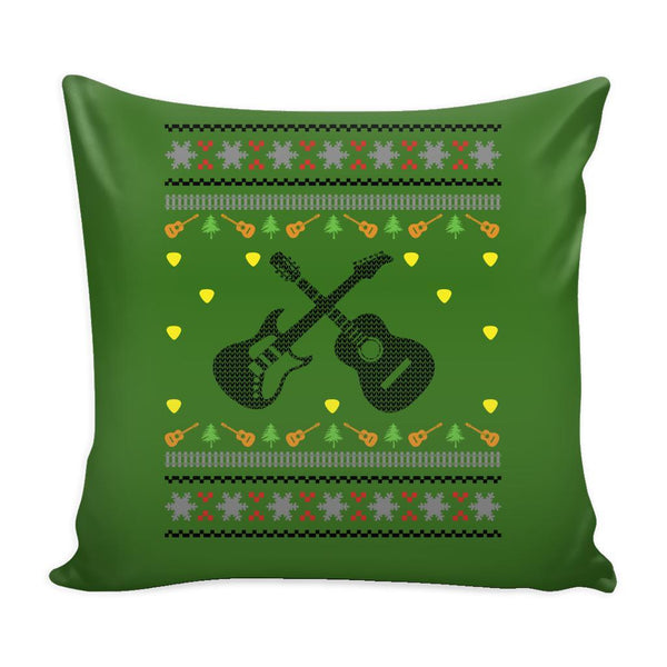 Acoustic Electric Bass Guitar Gibson Yamaha Festive Funny Ugly Christmas Holiday Sweater Decorative Throw Pillow Cases Cover(4 Colors)-Pillows-Green-JoyHip.Com