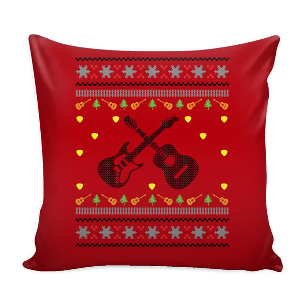 Acoustic Electric Bass Guitar Gibson Yamaha Festive Funny Ugly Christmas Holiday Sweater Decorative Throw Pillow Cases Cover(4 Colors)-Pillows-Red-JoyHip.Com