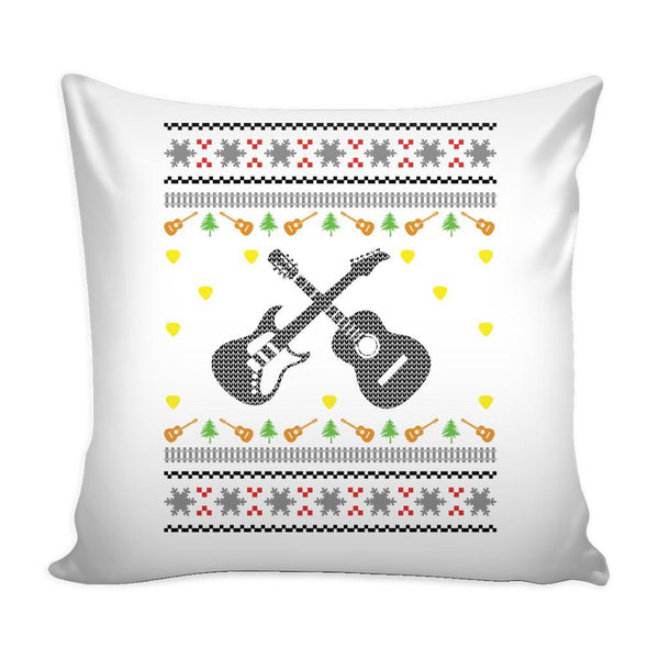 Acoustic Electric Bass Guitar Gibson Yamaha Festive Funny Ugly Christmas Holiday Sweater Decorative Throw Pillow Cases Cover(4 Colors)-Pillows-White-JoyHip.Com