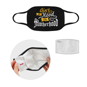 Aint No Hood Like Motherhood Washable Reusable Face Mask With Filter Pocket-Face Mask-L-Black-JoyHip.Com
