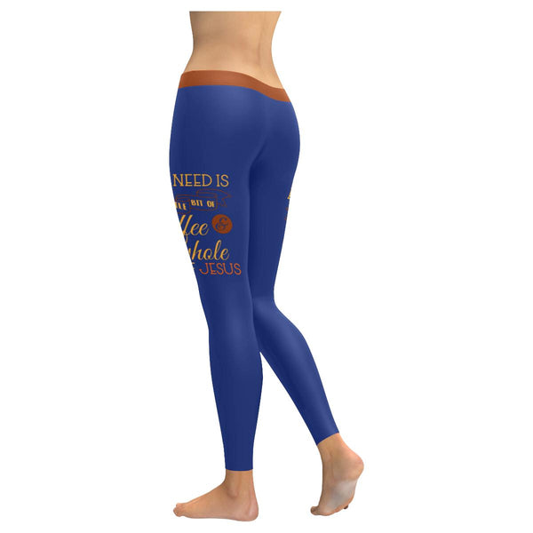 All I Need Is Coffee & A Whole Lot Of Jesus Soft Leggings For Women Cute Funny-JoyHip.Com