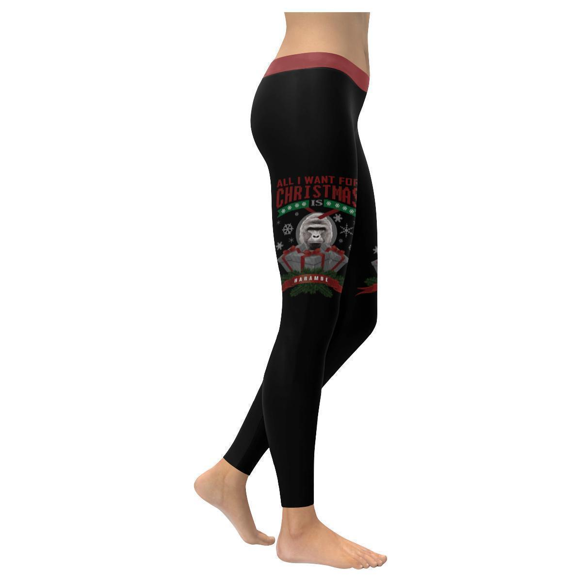 All I Want For Christmas Is Harambe Cool Gift Idea Ugly Christmas Women Leggings-XXS-Black-JoyHip.Com