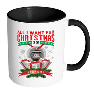 All I Want For Christmas Is Harambe Ugly Christmas Sweater 11oz Accent Coffee Mug (7 Colors)-Drinkware-Accent Mug - Black-JoyHip.Com