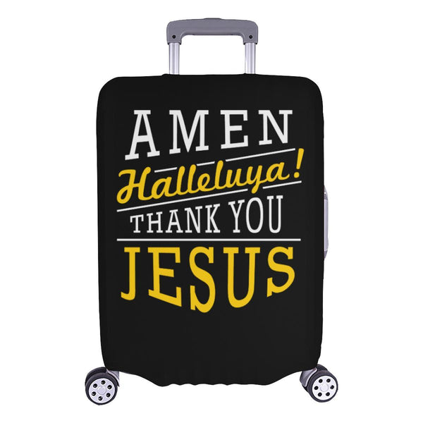 Amen Halleluya! Thank You Jesus Christian Travel Luggage Cover Suitcase Protector-L-Black-JoyHip.Com