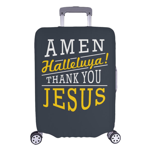 Amen Halleluya! Thank You Jesus Christian Travel Luggage Cover Suitcase Protector-L-Grey-JoyHip.Com