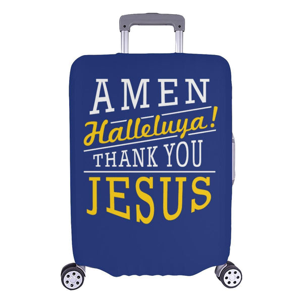 Amen Halleluya! Thank You Jesus Christian Travel Luggage Cover Suitcase Protector-L-Navy-JoyHip.Com