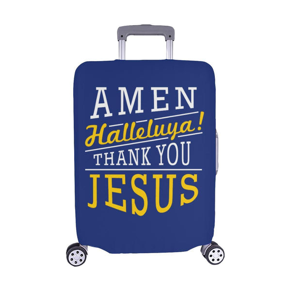 Amen Halleluya! Thank You Jesus Christian Travel Luggage Cover Suitcase Protector-M-Navy-JoyHip.Com