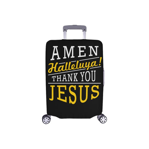 Amen Halleluya! Thank You Jesus Christian Travel Luggage Cover Suitcase Protector-S-Black-JoyHip.Com