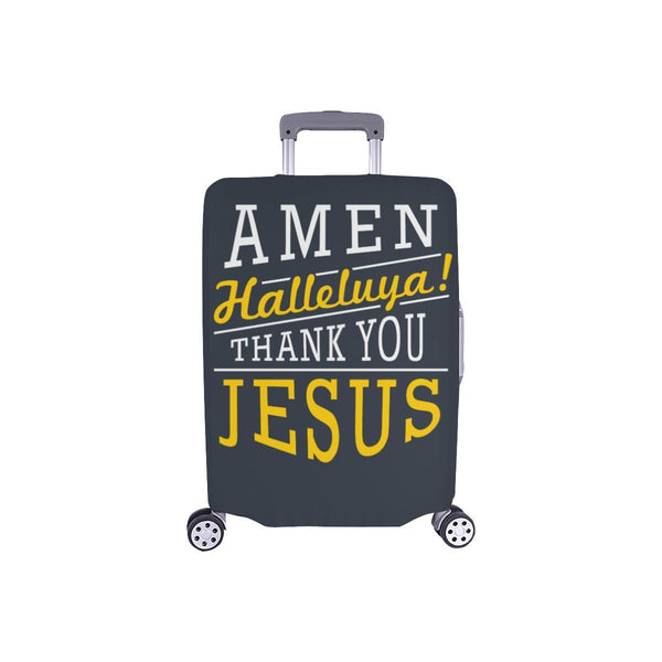 Amen Halleluya! Thank You Jesus Christian Travel Luggage Cover Suitcase Protector-S-Grey-JoyHip.Com