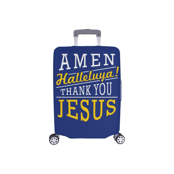 Amen Halleluya! Thank You Jesus Christian Travel Luggage Cover Suitcase Protector-S-Navy-JoyHip.Com