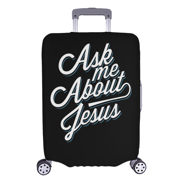 "Ask Me About Jesus Christian Travel Luggage Cover Suitcase Protector Fit 18""-28""-L-Black-JoyHip.Com"