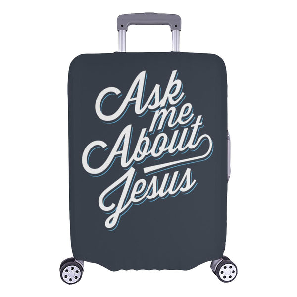 "Ask Me About Jesus Christian Travel Luggage Cover Suitcase Protector Fit 18""-28""-L-Grey-JoyHip.Com"