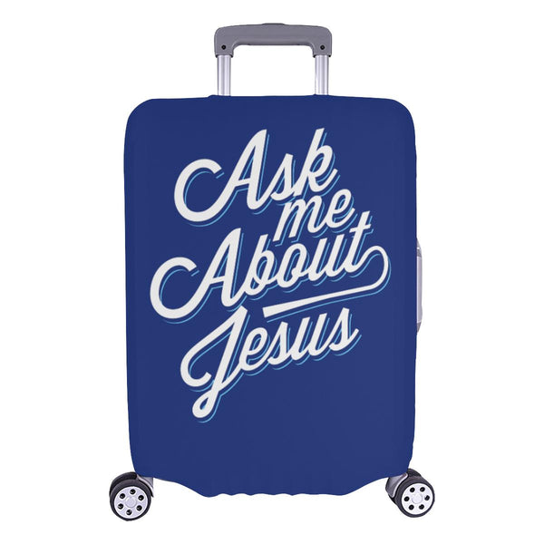 "Ask Me About Jesus Christian Travel Luggage Cover Suitcase Protector Fit 18""-28""-L-Navy-JoyHip.Com"