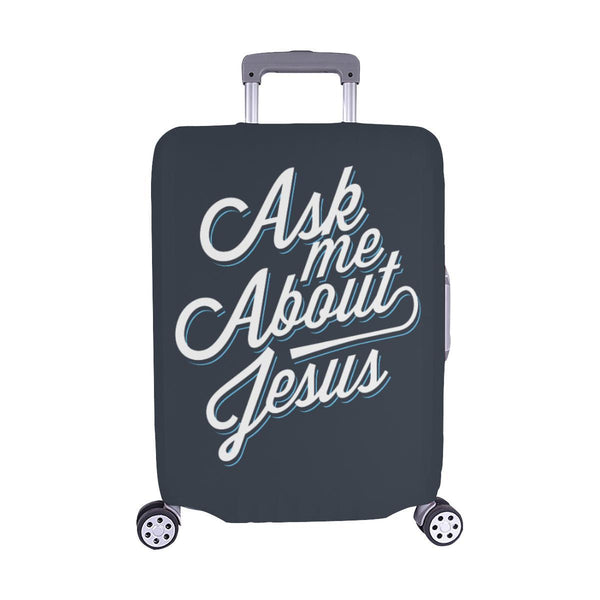 "Ask Me About Jesus Christian Travel Luggage Cover Suitcase Protector Fit 18""-28""-M-Grey-JoyHip.Com"