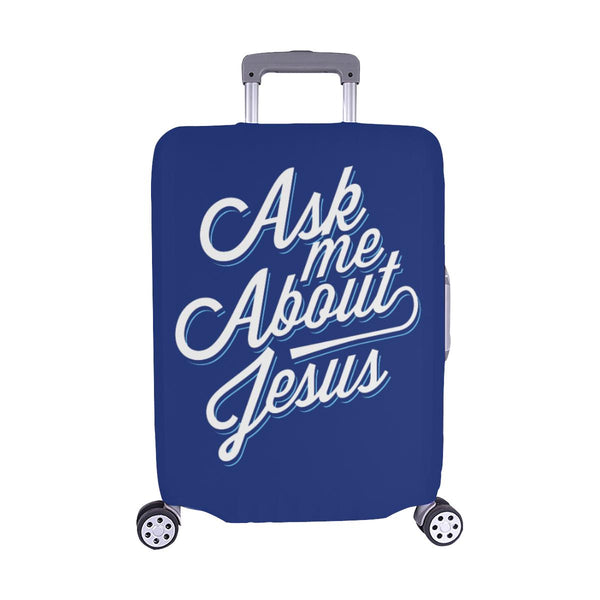 "Ask Me About Jesus Christian Travel Luggage Cover Suitcase Protector Fit 18""-28""-M-Navy-JoyHip.Com"