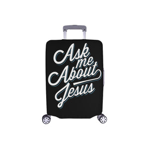 "Ask Me About Jesus Christian Travel Luggage Cover Suitcase Protector Fit 18""-28""-S-Black-JoyHip.Com"