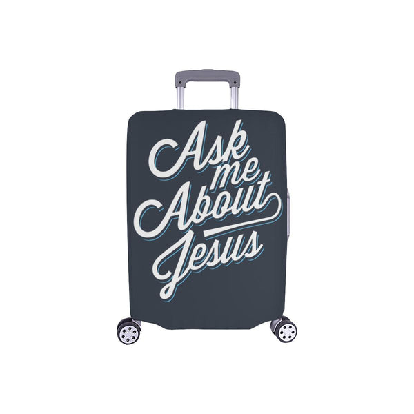 "Ask Me About Jesus Christian Travel Luggage Cover Suitcase Protector Fit 18""-28""-S-Grey-JoyHip.Com"