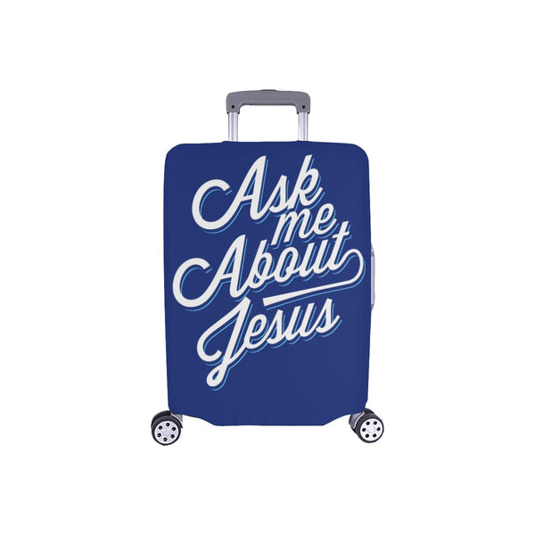 "Ask Me About Jesus Christian Travel Luggage Cover Suitcase Protector Fit 18""-28""-S-Navy-JoyHip.Com"