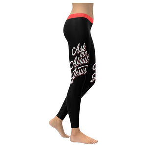 Ask Me About Jesus Funny Christian Jesus Faith Religious UPF40+ Womens Leggings-XXS-Black-JoyHip.Com