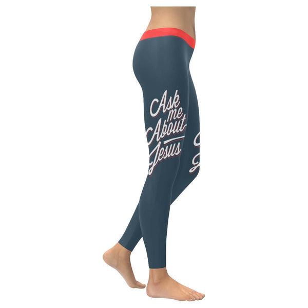 Ask Me About Jesus Funny Christian Jesus Faith Religious UPF40+ Womens Leggings-XXS-Grey-JoyHip.Com