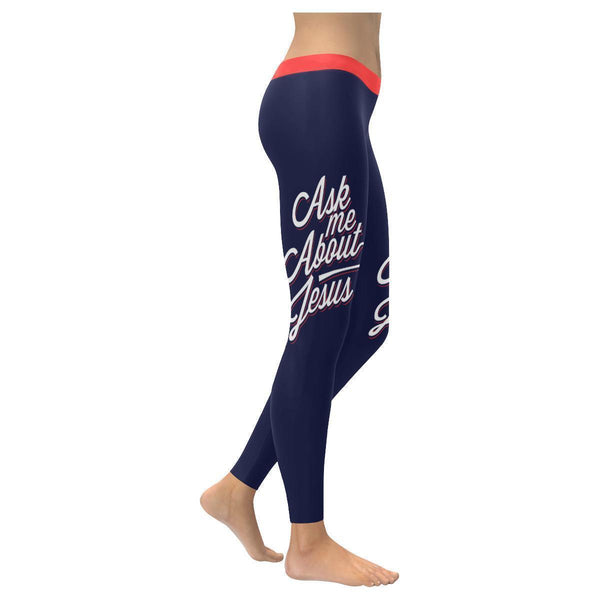 Ask Me About Jesus Funny Christian Jesus Faith Religious UPF40+ Womens Leggings-XXS-Navy-JoyHip.Com