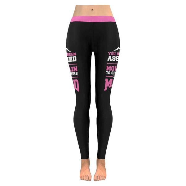 Assigned This Mountain Can Be Moved Breast Cancer Pink Ribbon Womens Leggings-JoyHip.Com