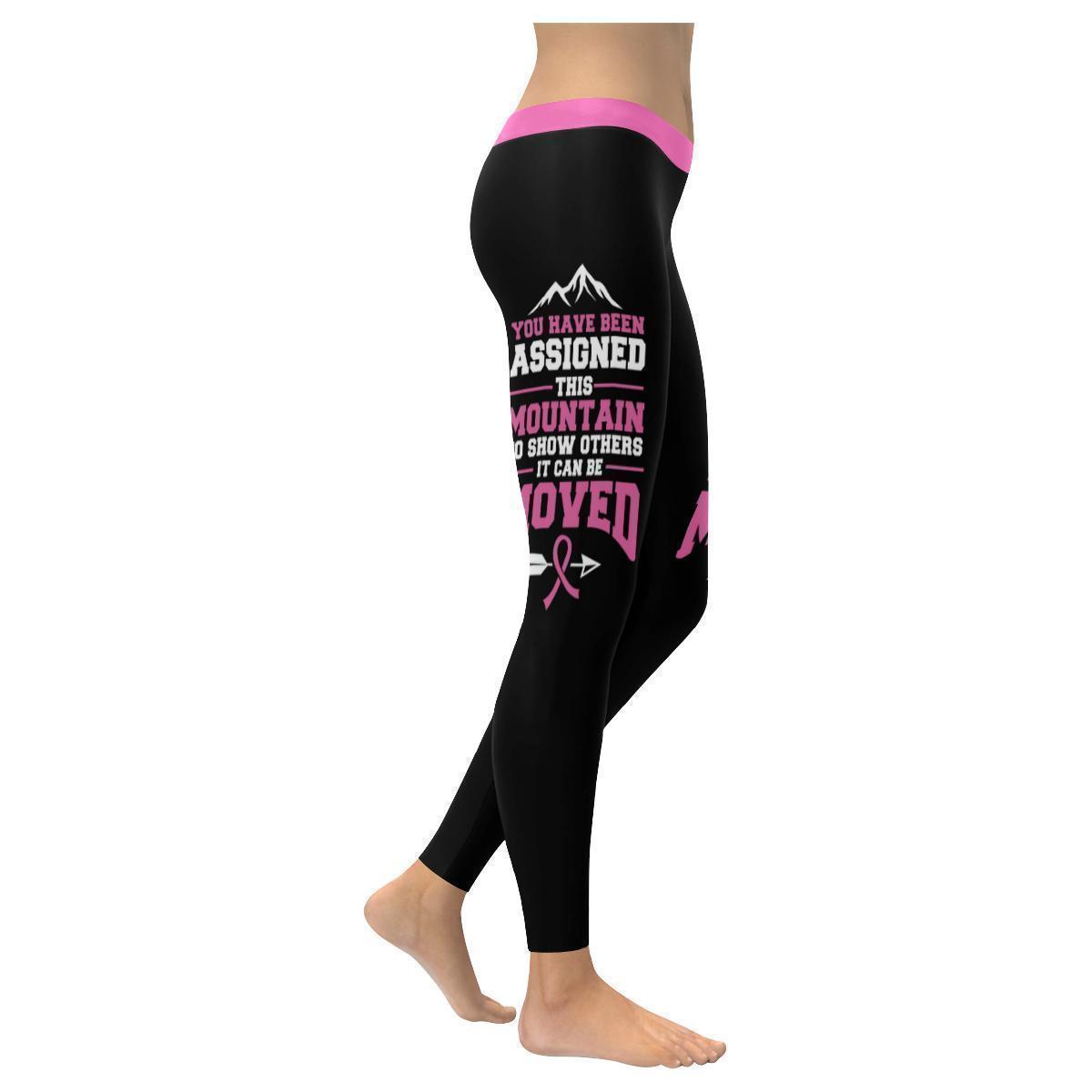 Assigned This Mountain Can Be Moved Breast Cancer Pink Ribbon Womens Leggings-XXS-Black-JoyHip.Com