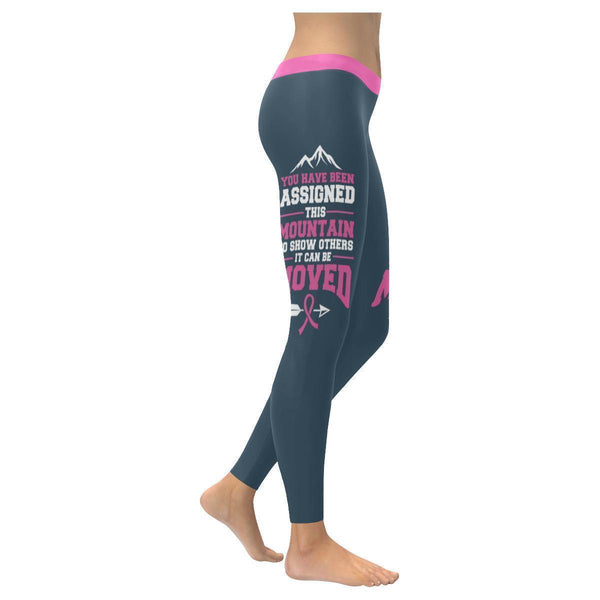 Assigned This Mountain Can Be Moved Breast Cancer Pink Ribbon Womens Leggings-XXS-Grey-JoyHip.Com