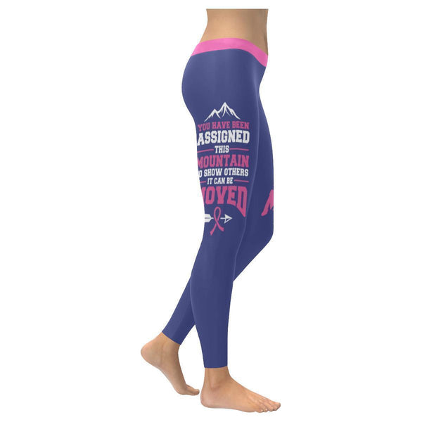 Assigned This Mountain Can Be Moved Breast Cancer Pink Ribbon Womens Leggings-XXS-Orchid-JoyHip.Com