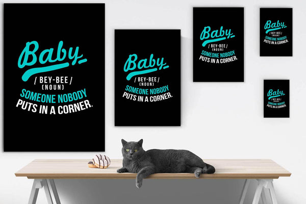 Baby Definition BeyBee Noun Someone Nobody Puts In A Corner Canvas Wall Art Room-Canvas Wall Art 2-JoyHip.Com