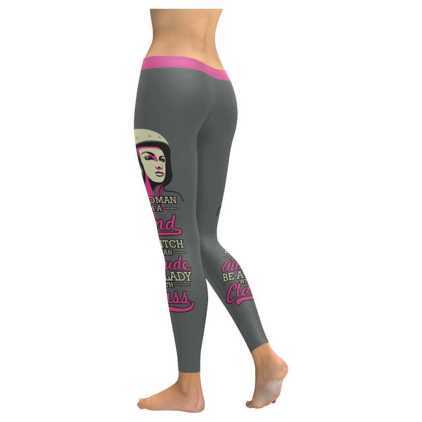 Be A Bitch With An Attitude Be A Lady With Class Biker Motorcycle Women Leggings-JoyHip.Com