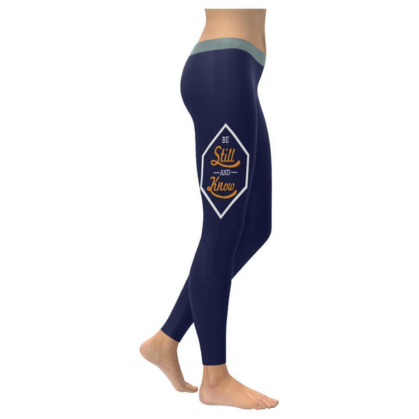 Be Still And Know Funny Christian Jesus Faith Religious UPF40+ Womens Leggings-XXS-Navy-JoyHip.Com