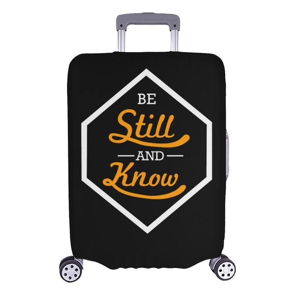 Be Still & Know Christian Travel Luggage Cover Suitcase Protector Fits 18-28 Inch-L-Black-JoyHip.Com