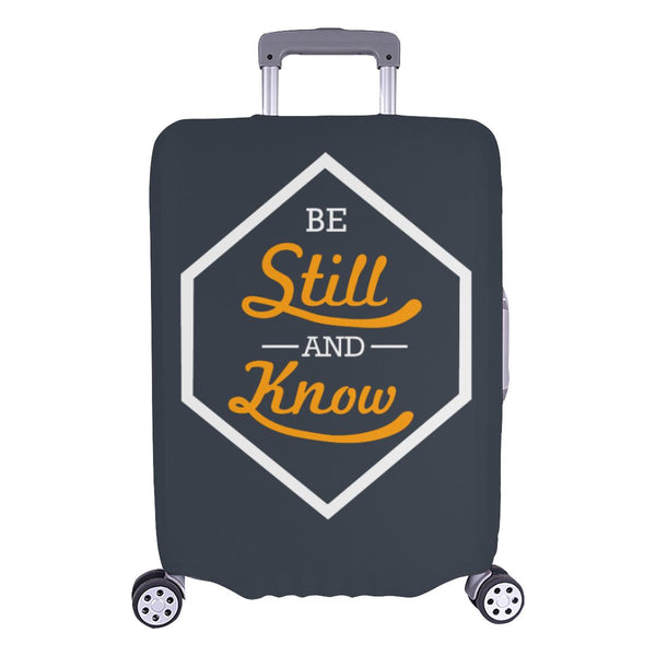 Be Still & Know Christian Travel Luggage Cover Suitcase Protector Fits 18-28 Inch-L-Grey-JoyHip.Com