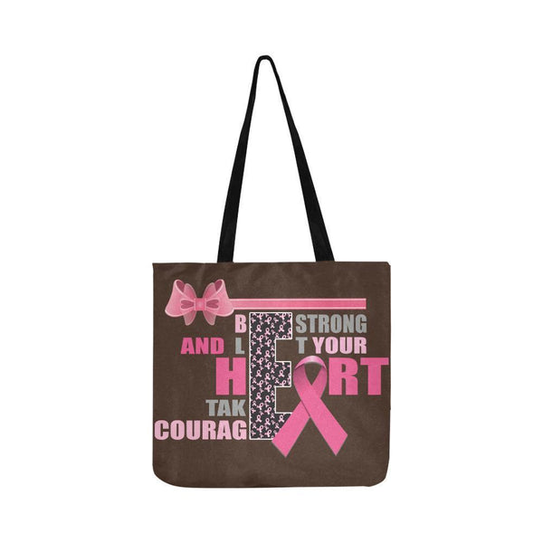 Be Strong Let Your Heart Take Courage Breast Cancer Grocery Reusable Produce Bag-One Size-Brown-JoyHip.Com