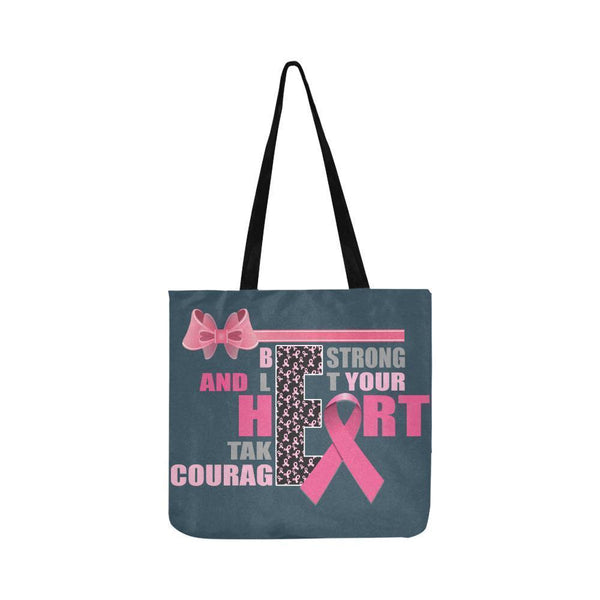 Be Strong Let Your Heart Take Courage Breast Cancer Grocery Reusable Produce Bag-One Size-Grey-JoyHip.Com