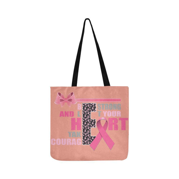 Be Strong Let Your Heart Take Courage Breast Cancer Grocery Reusable Produce Bag-One Size-Peach-JoyHip.Com
