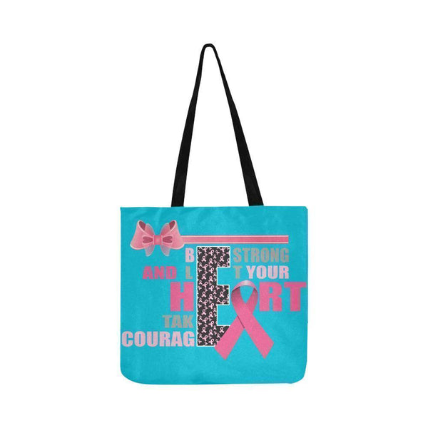 Be Strong Let Your Heart Take Courage Breast Cancer Grocery Reusable Produce Bag-One Size-Turquoise-JoyHip.Com