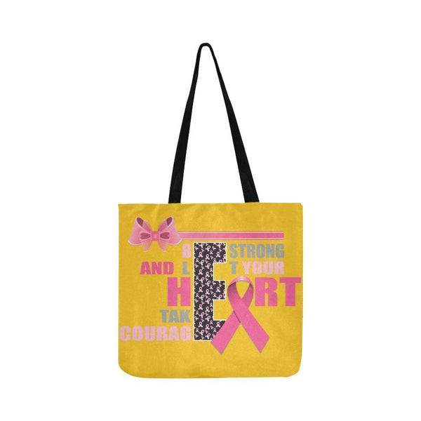 Be Strong Let Your Heart Take Courage Breast Cancer Grocery Reusable Produce Bag-One Size-Yellow-JoyHip.Com