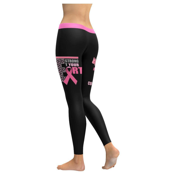 Be Strong Let Your Heart Take Courage Breast Cancer Pink Ribbon UPF40+ Leggings-JoyHip.Com