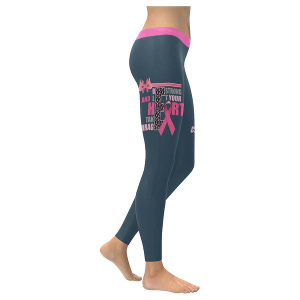 Be Strong Let Your Heart Take Courage Breast Cancer Pink Ribbon UPF40+ Leggings-XXS-Grey-JoyHip.Com