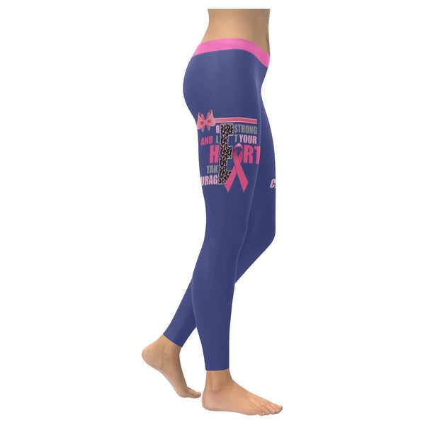 Be Strong Let Your Heart Take Courage Breast Cancer Pink Ribbon UPF40+ Leggings-XXS-Orchid-JoyHip.Com