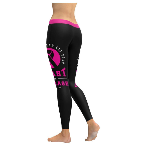 Be Strong Let Your Heart Take Courage Breast Cancer Pink Ribbon Womens Leggings-JoyHip.Com