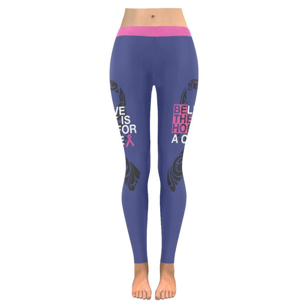 Be The Hope Believe There Is Hope For A Cure Breast Cancer Pink Ribbon Leggings-JoyHip.Com