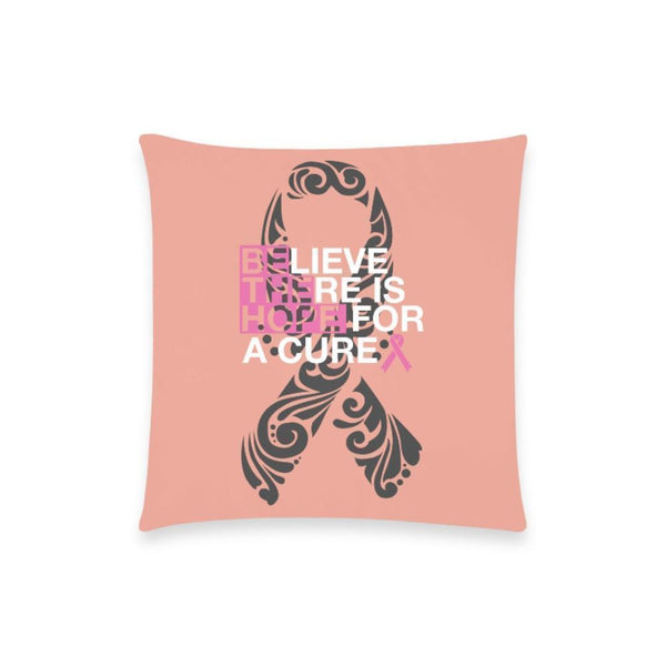 "Be The Hope Breast Cancer Awareness Pink Ribbon Pillow Case No Zipper 18""x18"" (8 colors)-One Size-Peach-JoyHip.Com"