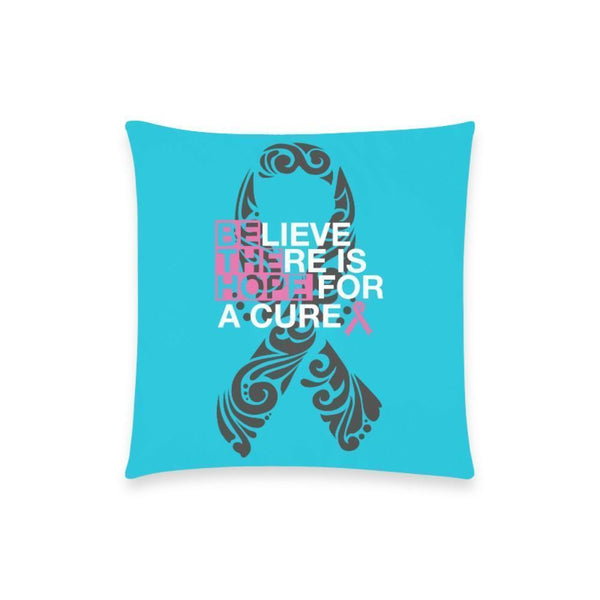 "Be The Hope Breast Cancer Awareness Pink Ribbon Pillow Case No Zipper 18""x18"" (8 colors)-One Size-Turquoise-JoyHip.Com"