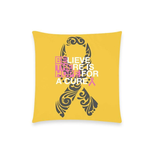 "Be The Hope Breast Cancer Awareness Pink Ribbon Pillow Case No Zipper 18""x18"" (8 colors)-One Size-Yellow-JoyHip.Com"