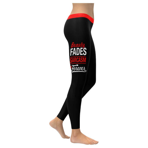 Beauty Fade Sarcasm Is Forever Soft Leggings For Women Cute Funny Sarcastic Gift-XXS-Black-JoyHip.Com