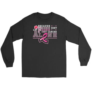 Because Friends Dont Let Friends Fight Breast Cancer Alone Retro Gifts Long Sleeve-T-shirt-Gildan Long Sleeve Tee-Black-JoyHip.Com