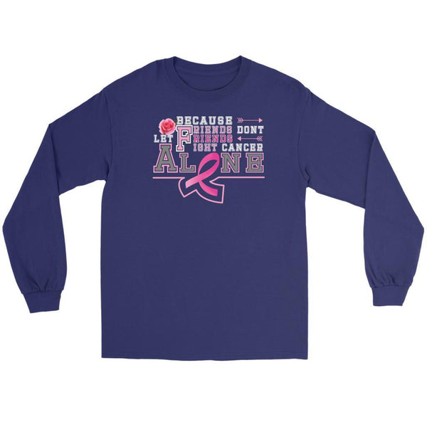 Because Friends Dont Let Friends Fight Breast Cancer Alone Retro Gifts Long Sleeve-T-shirt-Gildan Long Sleeve Tee-Purple-JoyHip.Com